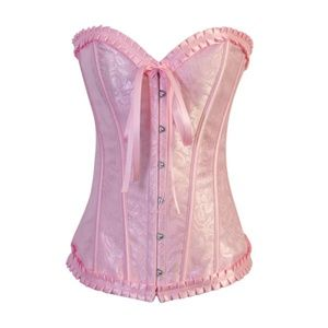 Tops - SOLD Pink Burlesque Lolita Overbust Corset Set